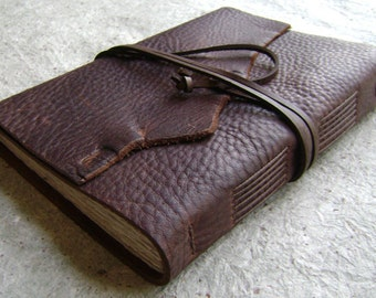 "Leather journal, 5.5""x 7.5"", rugged brown, handmade leather journal by Dancing Grey Studio (2061)"