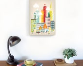 New York Wall Art, Manhattan Skyline, New York Canvas Wall Art, New York Canvas Art Print, Cityscape illustration, home wall decor, Nursery