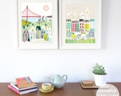 ANY 2 prints made LARGER (11x14 / 11x15 / 15x19) Chose ANY Skylines and Art from my shop, London, New York, San Francisco, Paris, Chicago