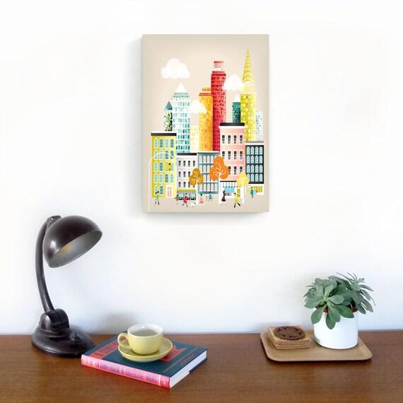 New York Wall Art, Manhattan Skyline, New York Canvas Wall Art, New York Canvas Art Print, Cityscape illustration, home wall decor, Nursery