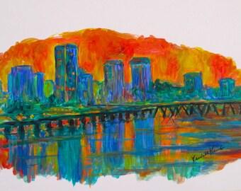 Richmond Skylines Art 12 x 9 Original Abstract Acrylic Paintings of Richmond VA by Award Winning Artist Kendall Kessler
