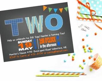Baby Boys Birthday Invitation - Invite Blue Green Orange - Printable Party Package - Chalkboard - Polka Dot Chevron