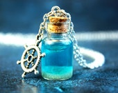Under the sea vial necklace, blue water in a glass mini bottle, silvered rudder charm, girl jewelry, gift, ocean and sand