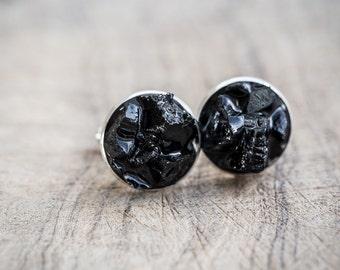 Men Cufflinks Rough Black Tourmaline raw stone OOAK cuff links for him groomsmen gift rustic wedding organic design
