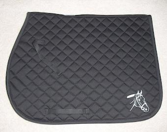English All Purpose Saddle Pad-Black-Embroidered Show Horse Head