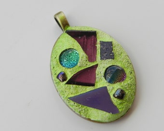 Glass mosaic pendant Pistachio, glass mosaic art, wearable mosaic art, dichroic glass pendant, ooak gift for her,