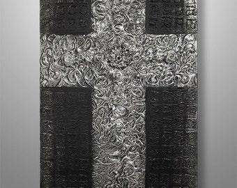 Abstract Painting, 3d, Abstract Wall Art, Wall Decor, Wall Art, Religious Cross Canvas Art, Heavy Texture, Home Decor, Gabriela,  Silver