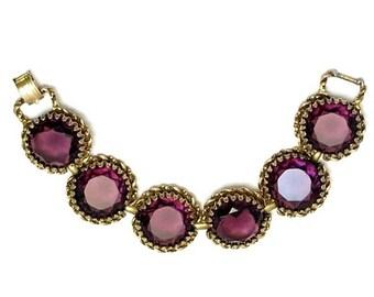 Czech Art Deco Amethyst Faceted Glass Bracelet