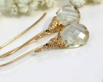 Champagne Oregon Sunstone Earrings | Sunstone Briolettes Wire Wrapped in 14k Gold Filled Elongated Dangles | Gift for Her | Ready to Ship