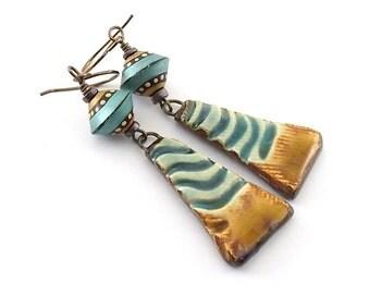 Handmade Earrings, Ceramic Earrings, Rust and Turquoise Earrings, Wire Earrings, Boho Earrings, Artisan Earrings, Rustic Earrings