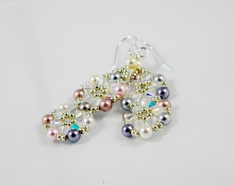 "READY TO SHIP Swarovski Crystal Pearl Beadweaving Earrings ""Pearl Pinwheels"""