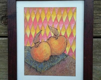 Modern Apple Print in Frame Harlequin Vintage Decor