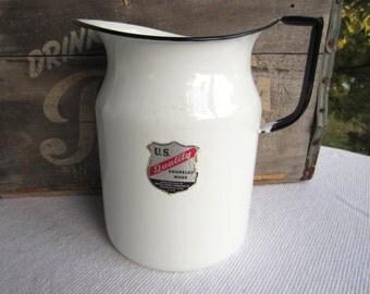 Vintage White and Black Enamel Pitcher US Quality Enameled Ware Rustic Cottage Decor