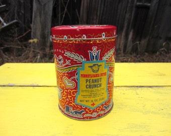 Vintage Pennsylvania Dutch Candies Tin in Red Amish Pennsylvania Dutch Motif