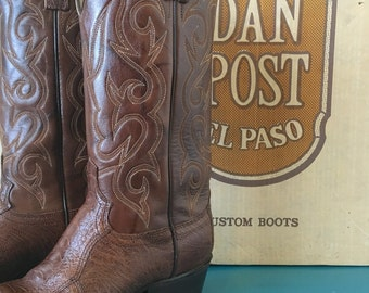 Vintage Dan Post Custom Boots Women Leather Ostrich Exotic Brown 1970s 1980s 8D