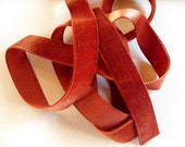 Vintage 1940's French Rayon Velvet Ribbon 7/8 Inch  Copper