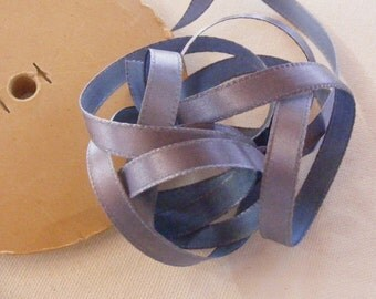 Vintage 1940's French Satin Ribbon 3/8 inch -Milliners Stock- Gorgeous Periwinkle
