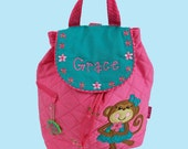 Personalized Stephen Joseph Backpack MONKEY GIRL (Newest Style)  in Pink and Teal