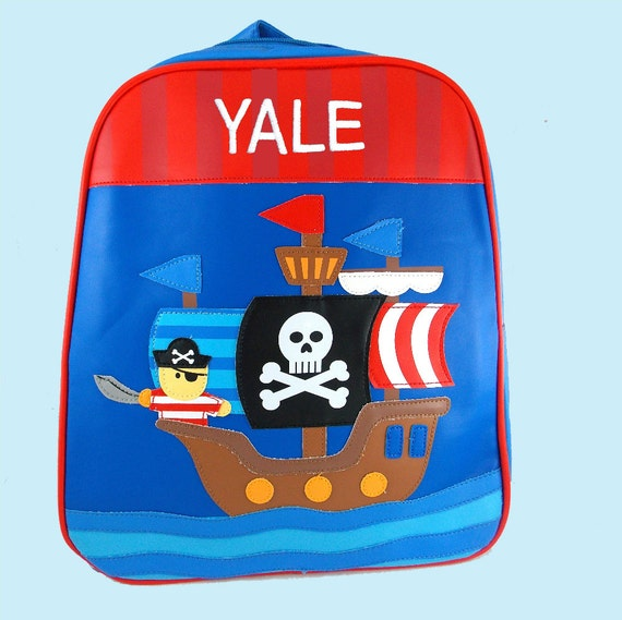 Personalized Stephen Joseph GoGo Backpack PIRATE Themed Bag in Blue and Red