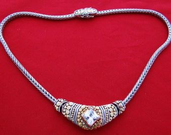 """MX signed Vintage silver and gold tone 16"""" necklace with attached rhinestone centerpiece pendant in great condition"""