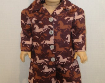 """18 Inch Doll Clothes/Wild Horses/Flannel pajamas and slippers/READY TO SHIP/4piece set made to fit 18""""  doll like American girl"""