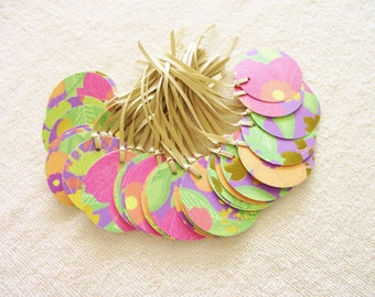 Round Flowered Gift Tags-Foil Accents-Satin Ribbon-Weddings-Hang Tag- Flat Rate Shipping