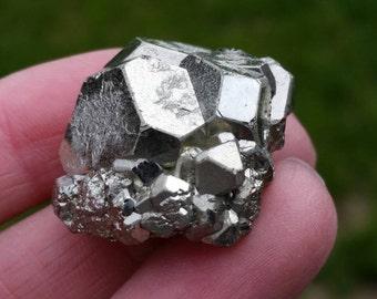 Pyrite Specimen, Natural Gemstone Geometric Formation, Crystal Mineral