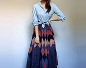 Patchwork Skirt Vintage Long Skirt Prairie Midi Skirt Blue Skirt Full Circle Skirt Country Girl - Small S