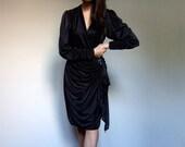 Black Draped Dress 80s Vintage Long Sleeve V Neck Sequin Party Dress - Large L
