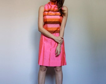Neon Dress Vintage 60s Dress Striped Dress 1960s Sleeveless Mini Dress Mod Mini Scooter Dress Pink Orange Dress - Medium M