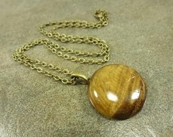 "Tiger's Eye Gemstone Pendant Necklace Antiqued Bronze 18"""