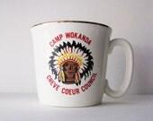 Vintage Boy Scout Camp Mug, Native American Design