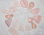 Peach / Pink Peach Frosted Faux Sea Glass recycled glass (15 pieces)