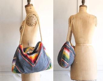 vintage woven serape blanket bag