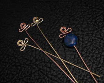 Egypt eye pin, head pin, jewelry finding, beading supplies, jewelry component, head pin finding,  4 pc