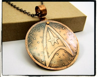 005 Etched Antique Copper Star Trek TOS Command Insignia Wire Wrap Pendant with Chain