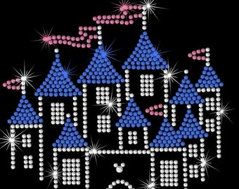 "6.8"" Disney Castle iron on rhinestone transfer applique bling patch"