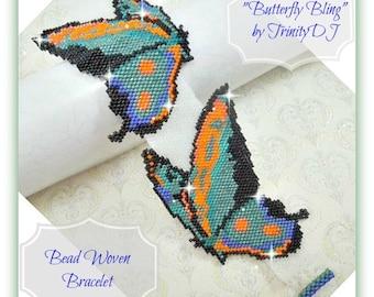BR-089-2016-132 - Butterfly Bling - Peyote Bracelet, beadwork bracelet, beadweaving, beaded bracelet, peyote stitch bracelet, discount