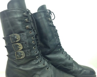 VTG 90s Combat Strap Boot Lace Up Tie Up Fur Lining Lined 38 8 7.5 Womens Snow Winter