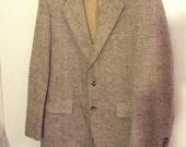 SALE 40 brown tweed suitcoat coat jacket blazer men hipster boho college Kuppenheimer