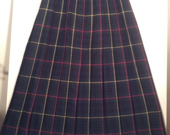SALE 80s plaid skirt kilt pleated skirt grunge boho punk tartan size 14