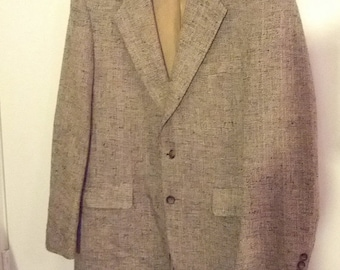 SALE 40 brown tweed suitcoat coat jacket blazer men hipster boho college Kuppenheimer
