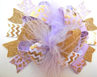 Lavender and Gold Hair bows - Over the top Gold foil bow-Metallic gold foil bow