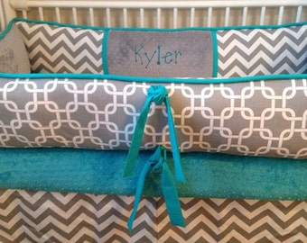 Teal and gray chevron Baby bedding Crib set DEPOSIT Down payment Only