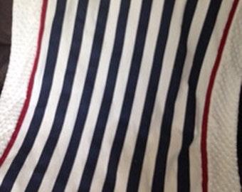 Baby blanket quilt boy boy  Navy stripe, red and white minky dot