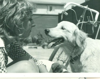 1960s Happy Dog and Woman With Bicycle Looking Outside Faces 60s Vintage Black and White Photo Photograph