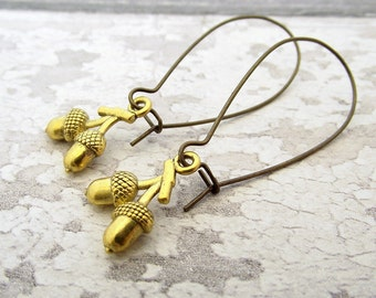 Acorn earrings, gold acorn earrings, dangle earrings, woodland jewelry