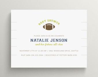 football baby shower invitation set  //  birthday invitation //  football party  //  customized invite // sports baby shower // athlete