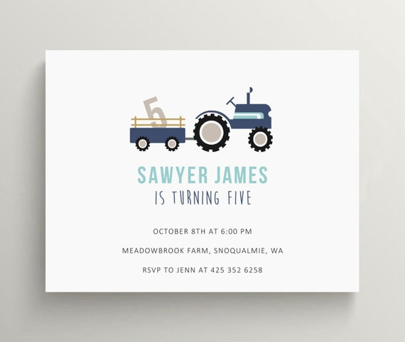 tractor birthday invitation set // baby shower invitation // farm party // tractor party // blue // barnyard // farmer // thank you note