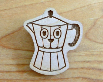Coffee pot brooch wood cute